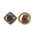 Two 14k gold brooches with dogs essex reverse carved crystal dogs square with bulldog set by marcus and co circular with spaniel in leash frame by sloan 29 gs longest 1 14