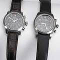 Two girardperregaux chronograph watches ferrari stainless steel 250 tr reference 8090 no 985 of an edition of 2000 selfwinding black face triple register leather strap with ferrari buckle