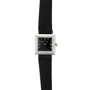 Bulova gold and diamond dress watch wg square with black face and white gold markers textured case with diamond bezel ca 1960 1 18 x 1 18