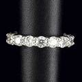 Diamond and platinum eternity band seventeen fine brilliant cut diamonds approx 425 cts tw bead set 10 gs size 7