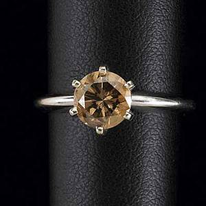 Fancy brown diamond ring circular brilliant cut approx 110 cts faceted girdle 14k wg 6prong solitaire setting size 6 14