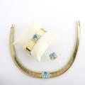 Blue topaz and diamond 14k yg jewelry 15 12 tubogas necklace 6 12 flexible bracelet ballerina ring size 5 12 approx 25 cts tw diamonds 115 gs gw