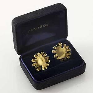 Angela cummings gold earrings for tiffany  co matte 18k yg stylized sunburst design clipbacks for unpierced ears 1981 in box marked 14 gs 1 18
