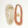 Coral and gold jewelry 18901940 18k and angelskin coral bead doublestrand necklace 14251025mm 30 14k cameo locket 1 12 concentric triple strand necklace 11mm5mm 16 255 gs gw