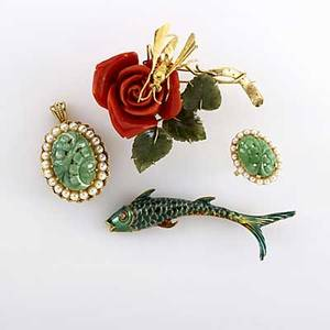 Coral jade and enamel gold jewelry four 14k pieces ca 1960 large red coral rose brooch with gold wasp and jade leaves enameled fish brooch with diamond eye carved jade and pearl pendantbrooch wi