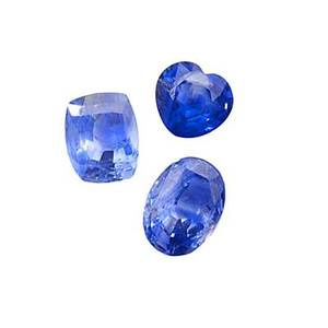 Three unmounted blue gem sapphires cushion cut 752 cts 115mm x 94mm heartshaped 47 cts 1045mm x 945mm oval 105 cts 1295mm x 95mm 2272 cts tw note unmounted gemstones from the