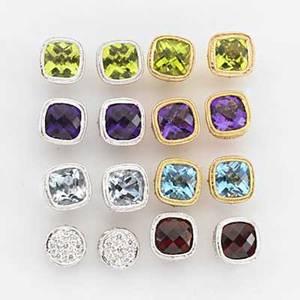 Eight pair gemstone or diamond stud earrings colorful wardrobe of contemporary cushion cut gemstones in 14k wg or yg filigree and wg diamond clusters garnet peridot amethyst blue topaz and aquamar