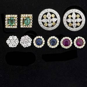 Five pair precious gemstone and diamond earrings tailored wardrobe in 14k wg or yg includes 18k white and yellow diamond clusters 18k square emerald diamond clusters 14k white diamond clusters 14k