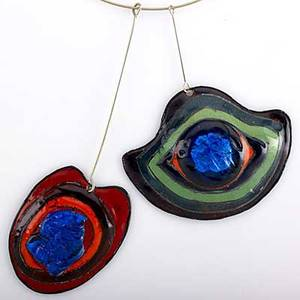 Pierre cardin couture futuristic pendants two bold colorful enameled copper and fused glass pendants with torque ca 1970 both signed p cardin paris one tag pf58 largest 5 14