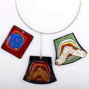 Pierre cardin couture futuristic pendants three bold colorful enameled copper and fused glass pendants and two torques ca 1970 all signed green ground 15049 black ground pf42 decor a104 lar