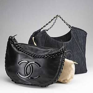 Two chanel eastwest tote bags black leather messenger bag with patent leather resin links trim and handle authentication card 12103645 17 x 12 large blue denim bag with stitched logo interw