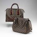 Two louis vuitton handbags mirage speedy 30 signature in bordeaux canvas with patent leather handles and applications gilt hardware and lock alcantara lining tags brochure dust bag unused 11