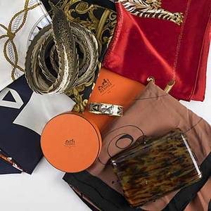 Hermes chanel cartier  other accessories hermes pleated scarf and flat scarf in boxes hermes enameled bangle bracelet cartier red silk scarf with panther motifs chanel navy blue and white signat
