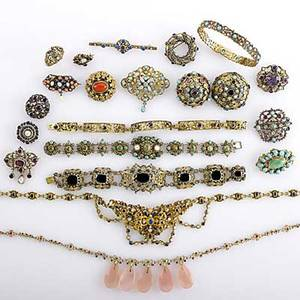 Renaissance revival silver jewelry most 19th c in gemset silver or gilt silver fourteen brooches four bracelets ring festoon necklace and fringe necklace most with hungarian marks 292 gs
