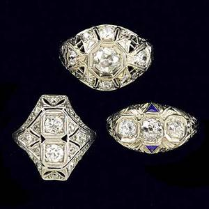 Three art deco diamond filigree rings platinum or white gold approx 25 cts tw 91 gs