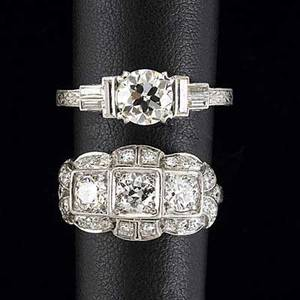 Two art deco diamond platinum rings chased engagement ring oec approx 1 cts with baguette shoulders lateral cocktail ring with threestone design and diamond melee approx 15 cts tw 94 gs