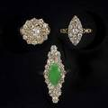 Late victorian diamond cluster rings navetteshaped with applegreen jade circular cluster 18k small navette 4 cts tw diamonds sizes 478