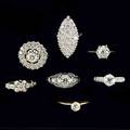 Seven diamond rings in 14k 18k wg and yg 19001940 four engagement rings navetteshaped cocktail ring circular cluster and art deco filigree largest oec diamond 80 ct omc oec and brilliant cu