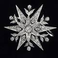 Diamond snowflake brooch first quarter 20th c omc and rose cut diamonds approx 2 cts tw 143 gs 1 34