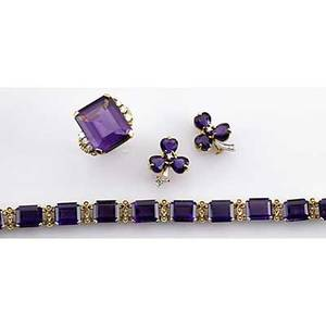 Assembled suite of amethyst 14k gold jewelry ca 1940 ring with rectangular amethyst flanked by six diamonds bracelet with amethyst and split pearl links cloverform ear clips with diamonds 547