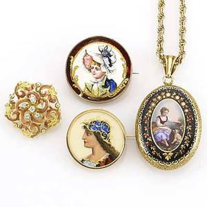 Enameled gold jewelry four pieces ca 18801920 locket with tracery enamel and seed pearls depicts woman and dogs two portrait brooches rococo brooch with diamonds 41 gs gw largest 1 12