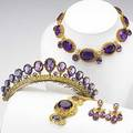 Amethyst and gold cannetille parure pinkish yellow gold with green gold rosettes and details the coronet in silvergilt ca 1840 girondole earrings coronet with comb 14 festoon necklace 6 12