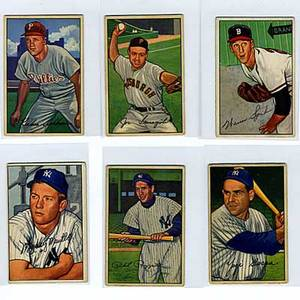Bowman baseball cards approx 157 cards partial set 1952 1 yogi berra 44 roy campanella 101 mickey mantle very good 4 to excellent 5 condition 116 duke snider all grades approximate