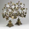 Pair of brass candelabra milk glass flowers nine candle holders 20th c 25