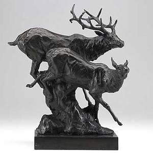 After antoine louis barye french 17961875 bronze of two deer running down a hillside late 20th c signed barye 12 12 x 10 x 8 12