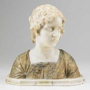 Italian marble bust mignon late 19thearly 20th c illegibly signed 14 12 x 14 12 x 6