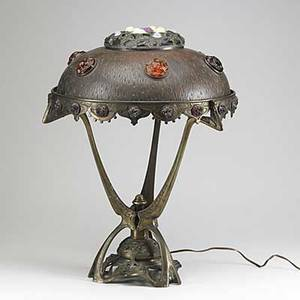 Austrian art nouveau table lamp brass with colored glass jewels in the shade early 20th c 23 12 x 18 dia