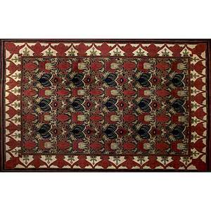 William morris design oriental rug beige background border and red center with blue floral designs 20th c 144 x 109