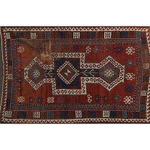 Caucasian area rug beige on red geometric design early 20th c 89 x 69 12