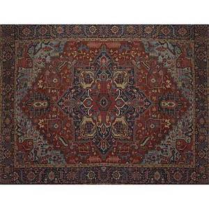 Heriz oriental rug large center medallion on red ground with wide banded floral border early 20th c 214 x 154