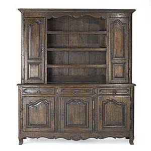 Country french stepback cupboard oak with paneled doors open center section 20th c 90 x 80 12 x 19 12