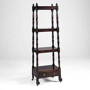 English whatnot mahogany four shelves tapered top to bottom on claw feet 19th c 72 x 24 12 x 15 12