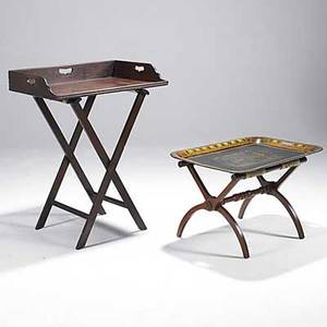 Two tray tables tole tray with zebra decoration together with galleried mahogany tray 19th c larger 38 x 29 34 x 20
