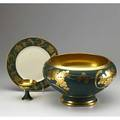 Pickard punch bowl twelve cups and six plates chinapainted in a gold grapevine pattern on a green ground 20th c marked b  co france bowl 8 x 13 12 dia