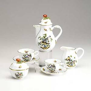 Herend eight piece teaset in the rothschild bird pattern 20th c includes two teacups and saucers teapot tray covered sugar and creamer in fitted herend box marked herend hungary tray 17 1