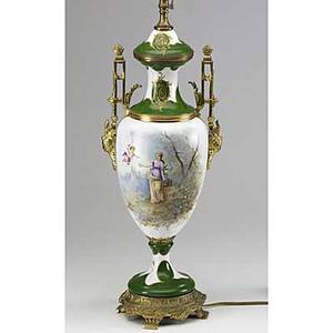 Sevres style handpainted porcelain urn shaped lamp with bronze mounts early 20th c 34