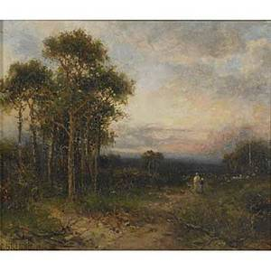 Carl brennir british 18501920 oil on board of a landscape with walking figures framed signed and dated with notes on verso 12 x 10