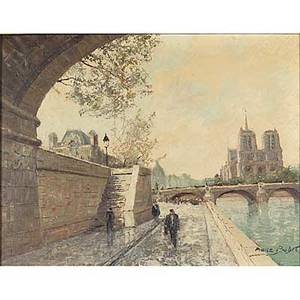 Pierre boudet french b 1926 oil on canvas of notre dame from the quay paris framed signed 24 x 30