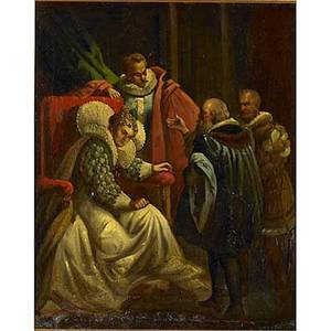 19th c european painting oil on canvas of elizabethan scene framed 27 x 22