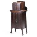 Art nouveau bar cabinet oak with icebox in bottom and humidor in top 19th c 51 12 x 23 14 x 14 12