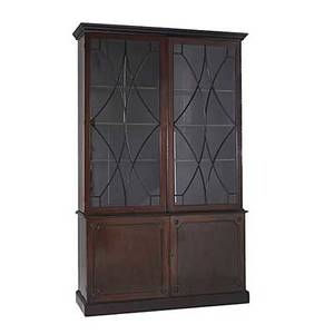 Georgian china cabinet two pieces in mahogany fretwork doors with individual panes of glass adjustable shelves 19th c 98 x 59 x 21