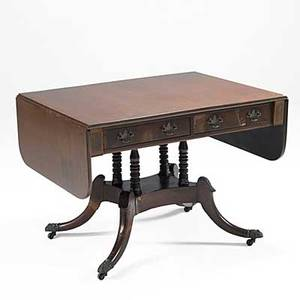 English dropleaf sofa table mahogany with two drawers 19th c 27 12 x 38 x 28 12 closed