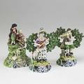 English staffordshire three figures early 19th c pair with lute and flute and a double figure titled songstress songstress stamped walton taller 7