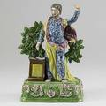 Staffordshire figure of jeremiah standing on a plinth with open book ca 1800 10 12