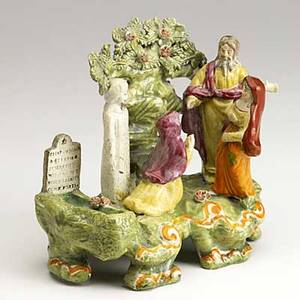 English staffordshire bocage group the raising of lazarus with christ mary martha and an ashen lazarus early 19th c 7 12 x 8 x 4 12