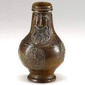 Frechen stoneware german bellarmine jug with bearded face and three medallions late 16th c 7 78